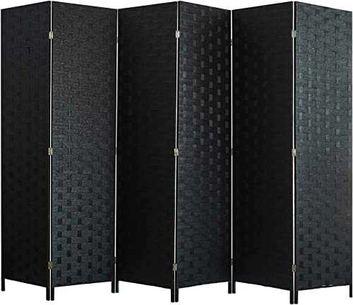 Room Divider and Folding Privacy Screen, Wall Divider with Dual Sides Weaved, 6 Panel Room Screen Divider Separator, Tall Foldable Panel Partition, Extra Wide Panel Screen, Black Privacy Wall