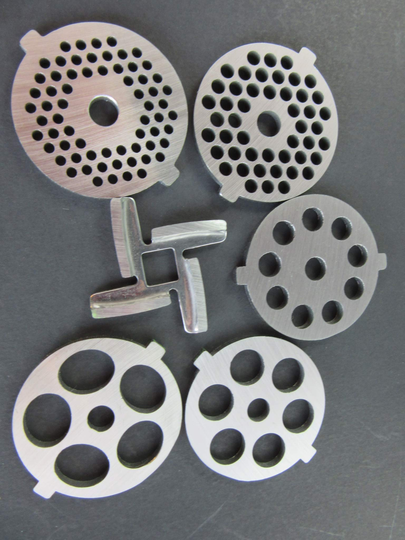 6 Piece Set Grinding Plate Discs and Knife for the Kitchenaid Mixer FGA Food Chopper and Meat Grinding