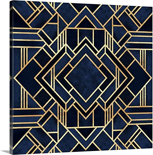 Art Deco Blue Canvas Wall Art Print