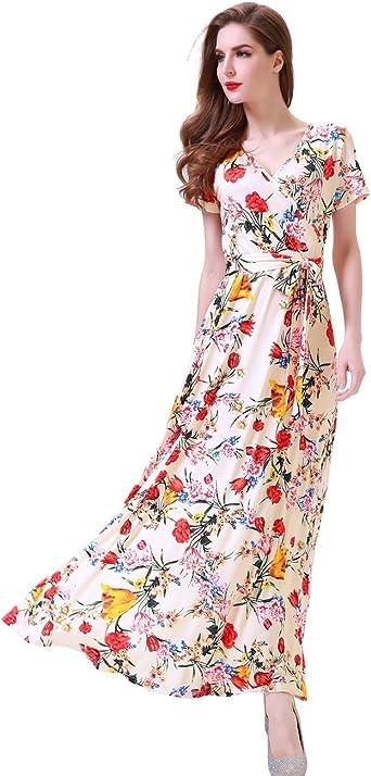 Girl Kid Boho Floral Flag Print Maxi Dress Baby Beach Short Sleeve Casual Pocket