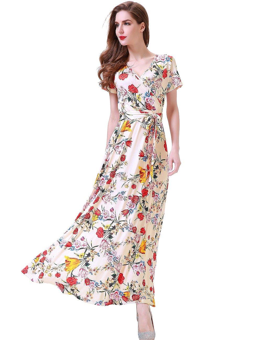 670c6d5b8f9 Melynnco Women s Short Sleeve Faux Wrap V Neck Cute Summer Floral Maxi Dress  at Amazon Women s Clothing store