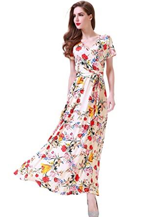397b84c0628 Melynnco Women s Vintage Floral Faux Wrap V Neck Short Sleeve Maxi Dress  Small Apricot