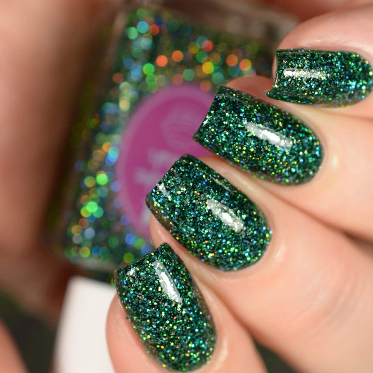 Amazon.com: Emerald - green glitter holographic nail polish by ...