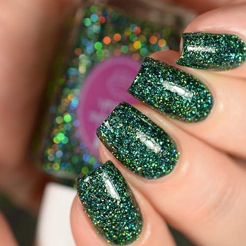 Amazon.com: Emerald - green glitter holographic nail polish by ...