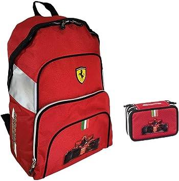 Mochila escolar Ferrari Americano redonda 2020 + estuche de 3 pisos completo + llavero silbato + bolígrafo con purpurina: Amazon.es: Equipaje