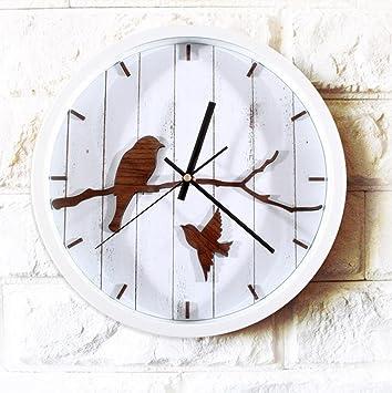 XY-QXZB Reloj de pared Retro Estilo del jardín del país Pajarito Madera Sala de
