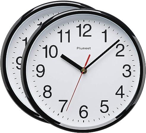 Plumeet 25 cm Reloj de Cuarzo de Pared silencioso, Decorativo para el hogarla Cocinala Oficinala Escuela, fácil Leer y con Pilas (Dos Negro)