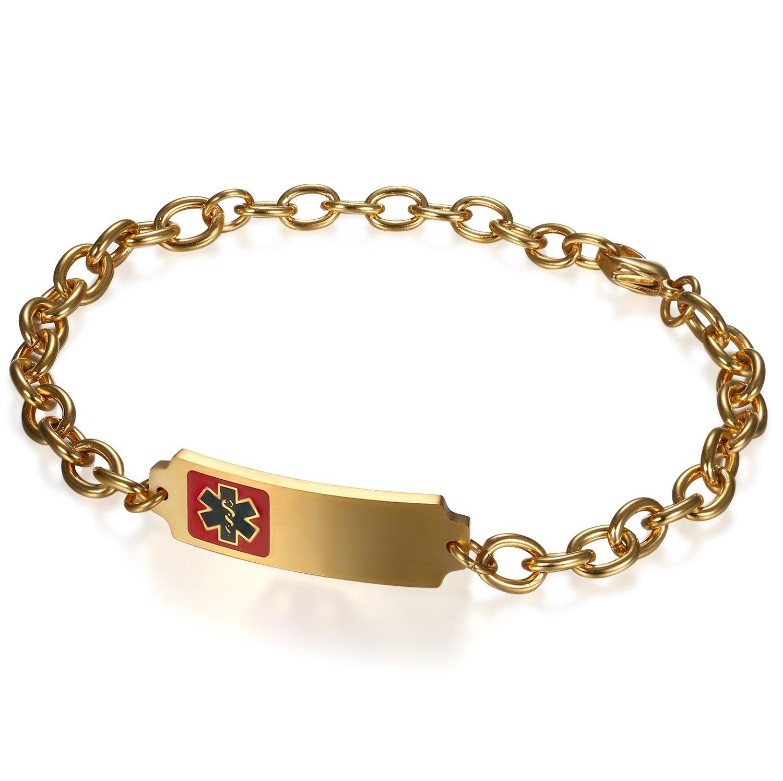 Flongo Free Custom Men's Women Stainless Steel Medical Alert ID Link Wristband Bracelet Free Engraving FLGO63023-EGVHS