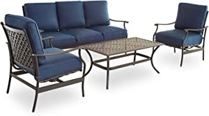 PatioFestival Patio Conversation Set 4 Pieces Cushioned Outdoor Furniture Sets with All Weather Frame