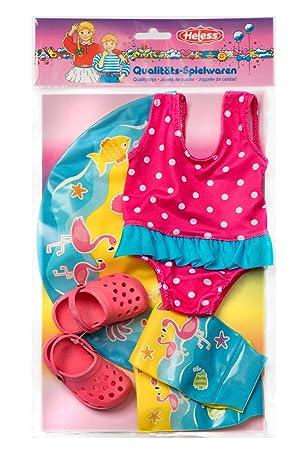 Kleidung & Accessoires Rosa Babypuppen & Zubehör Heless Puppenschwimm-Set Flamingo Ella mit Badeanzug und Clogs