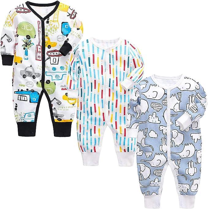 Opawo Pijama de bebé con estampado de algodón, unisex, paquete de 3, 0-24 meses, mono de manga larga para niños y niñas: Amazon.es: Ropa y accesorios
