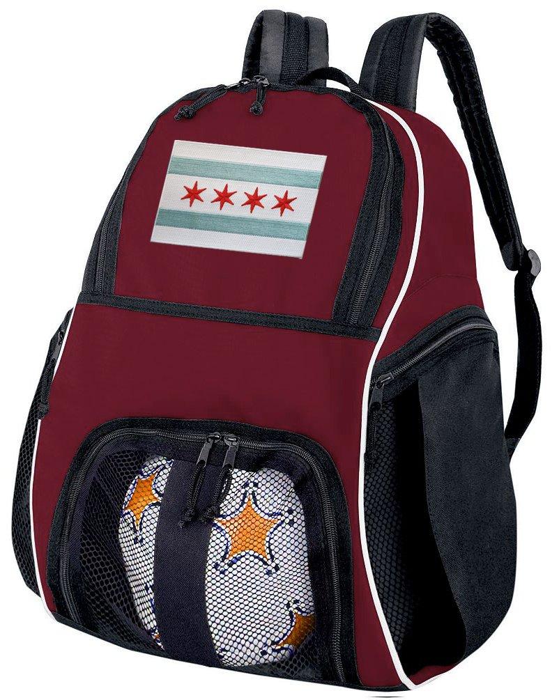 シカゴサッカーバックパックまたはバレーボールバッグマルーン B0153GF7JO