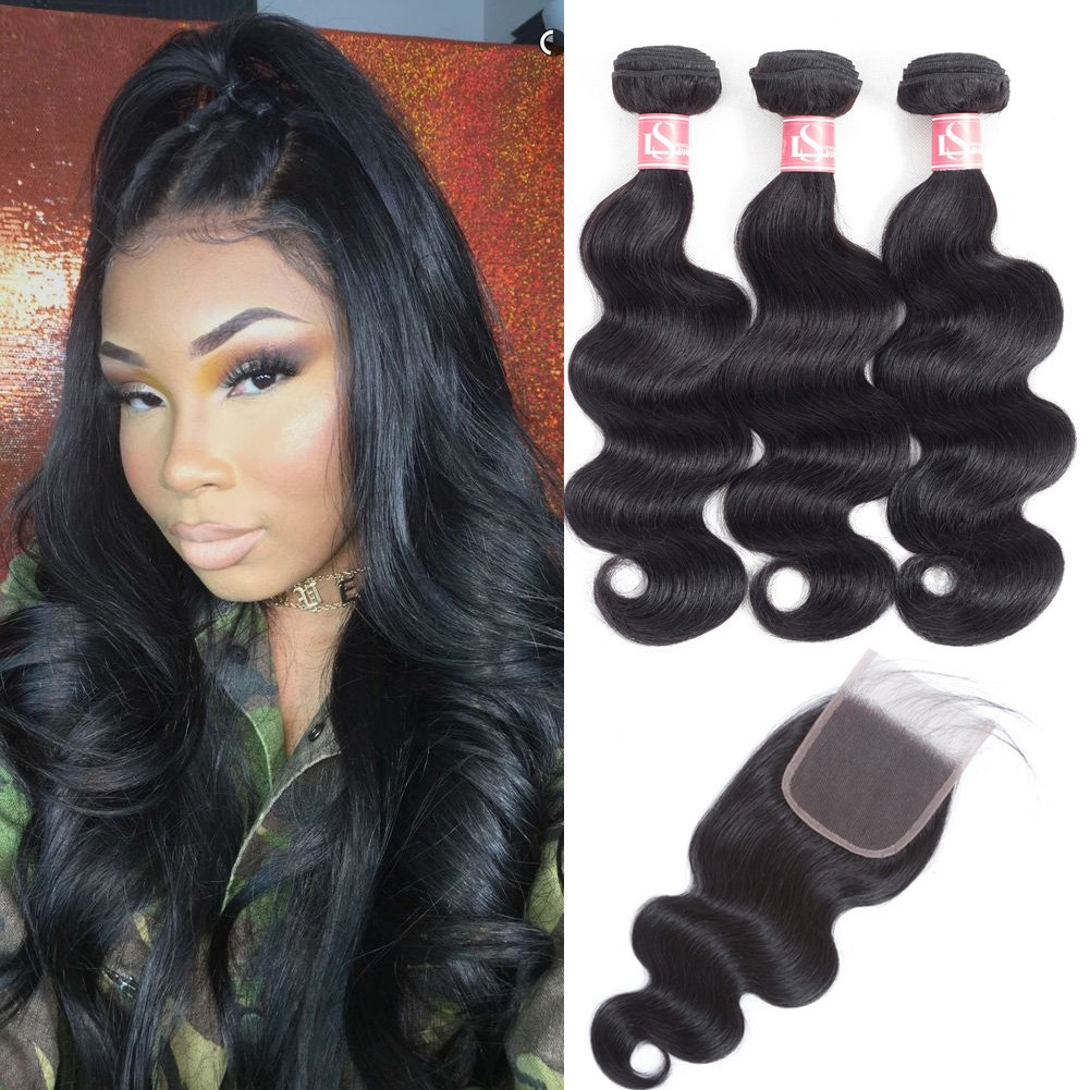 LSHAIR Brazilian Virgin Hair Body Wave 3 Bundle with Closure (20'' 18'' 16'' with 14'') 8A Grade Unprocessed Virgin Brazilian Hair Body Wave Human Hair Bundles with Clsoure
