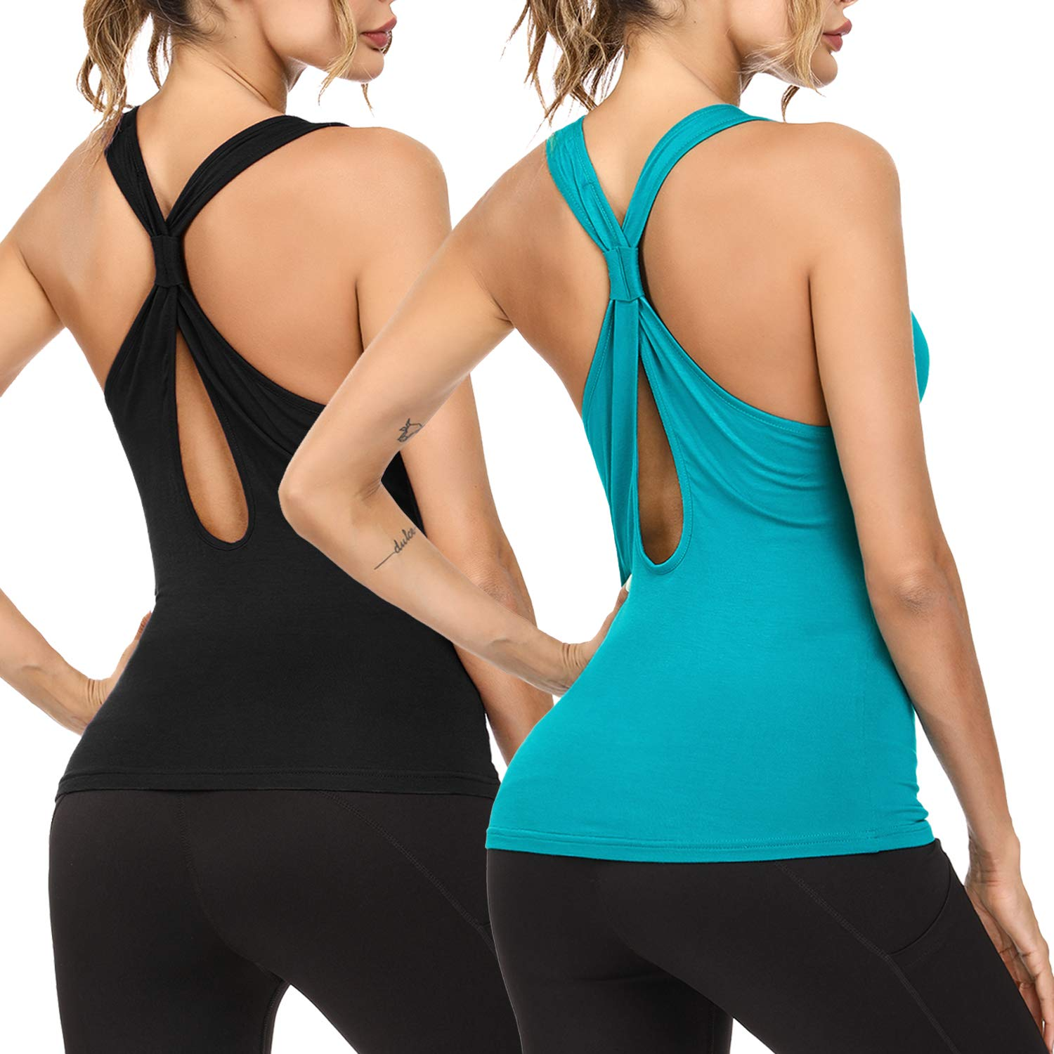 Sykooria 2 Pack Workout Tank Tops for Women Athletic Yoga Tops Open
