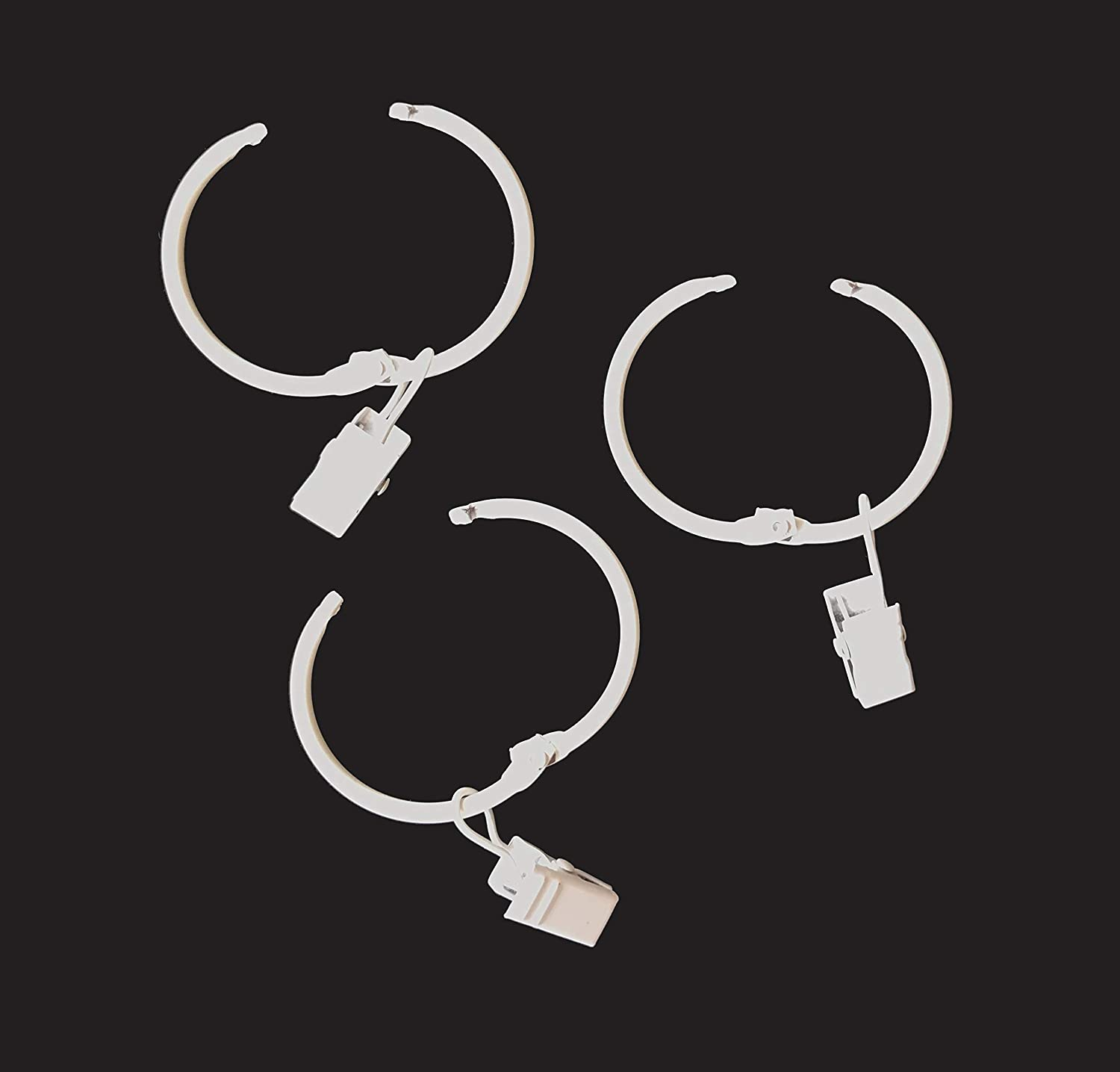 T-Juan MM 28 Pcs Metal Curtain Rings with Clips,1.5-Inch Inner Diameter Rings/Rings Can Easy Open and Close (White)