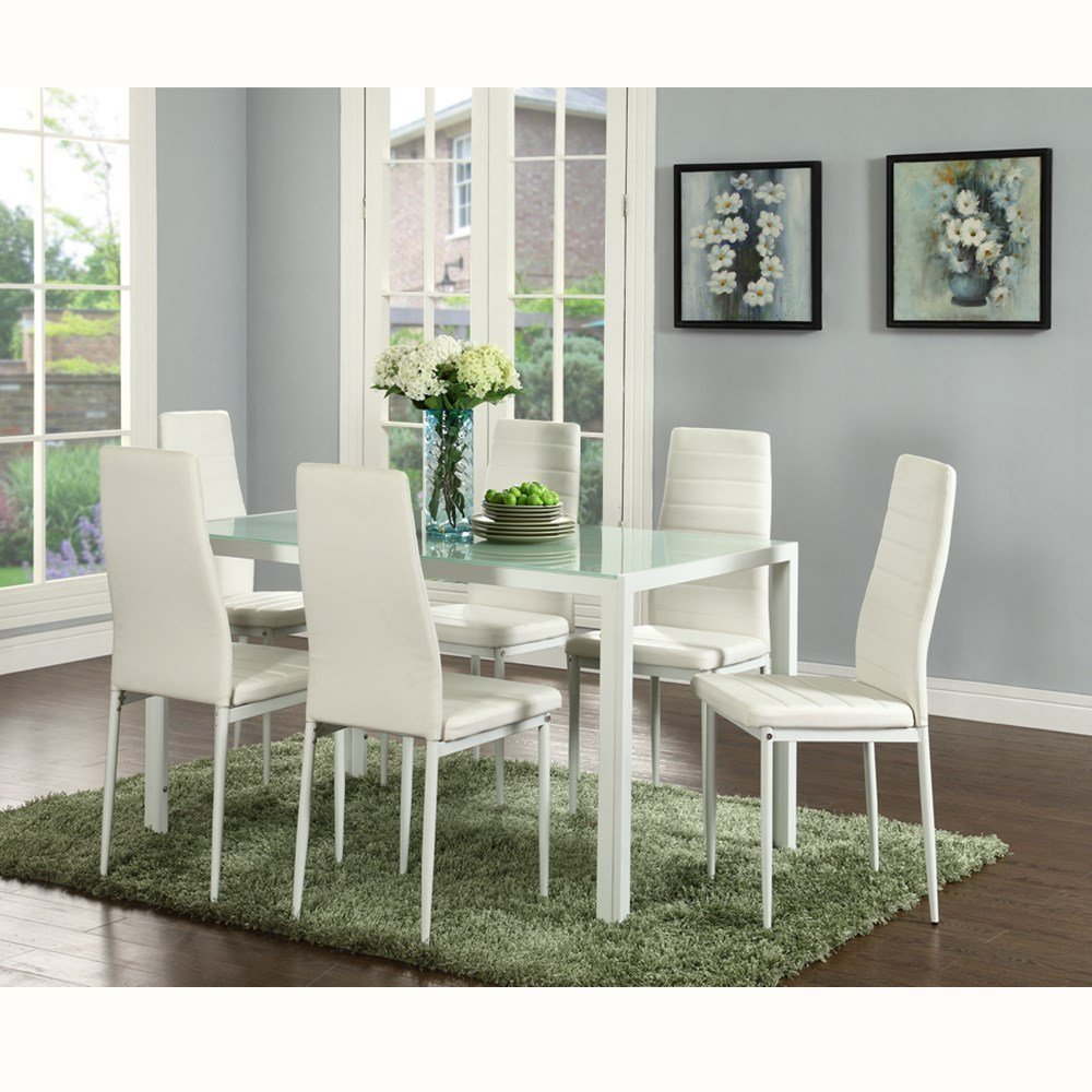 EBS 7 Piece Kitchen Dining Table Set for 6 with Modern Glass Top Table and Rust Resistant Metal Chairs, Rectangular, White