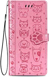 """Compatible with iPhone 8 Plus/iPhone 7 Plus Wallet Case,Kickstand Feature Luxury PU Leather Flip Folio Cover with [Card Slots] [Wrist Strap] for Apple iPhone 8 Plus 2017/7 Plus 2016 (5.5""""),Pink"""