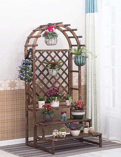 Cobertizos de flores en forma de corazón de Woody Balcón Estantes de flores Estante de flores
