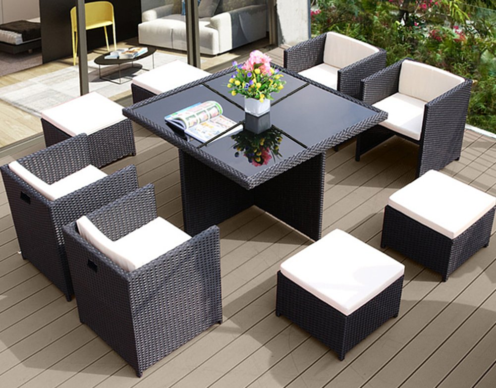 BeAllure Outdoor Furniture Dining Set Rattan Wicker Table Chair Ottoman 9PC Set