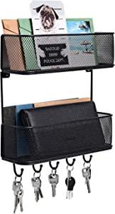 PAG Wall Mount Mail Organizer Double Basket Hanging Letter Sorter with 5 Key Hooks for Entryway, Kitchen, Mudroom, Home and Office, Black