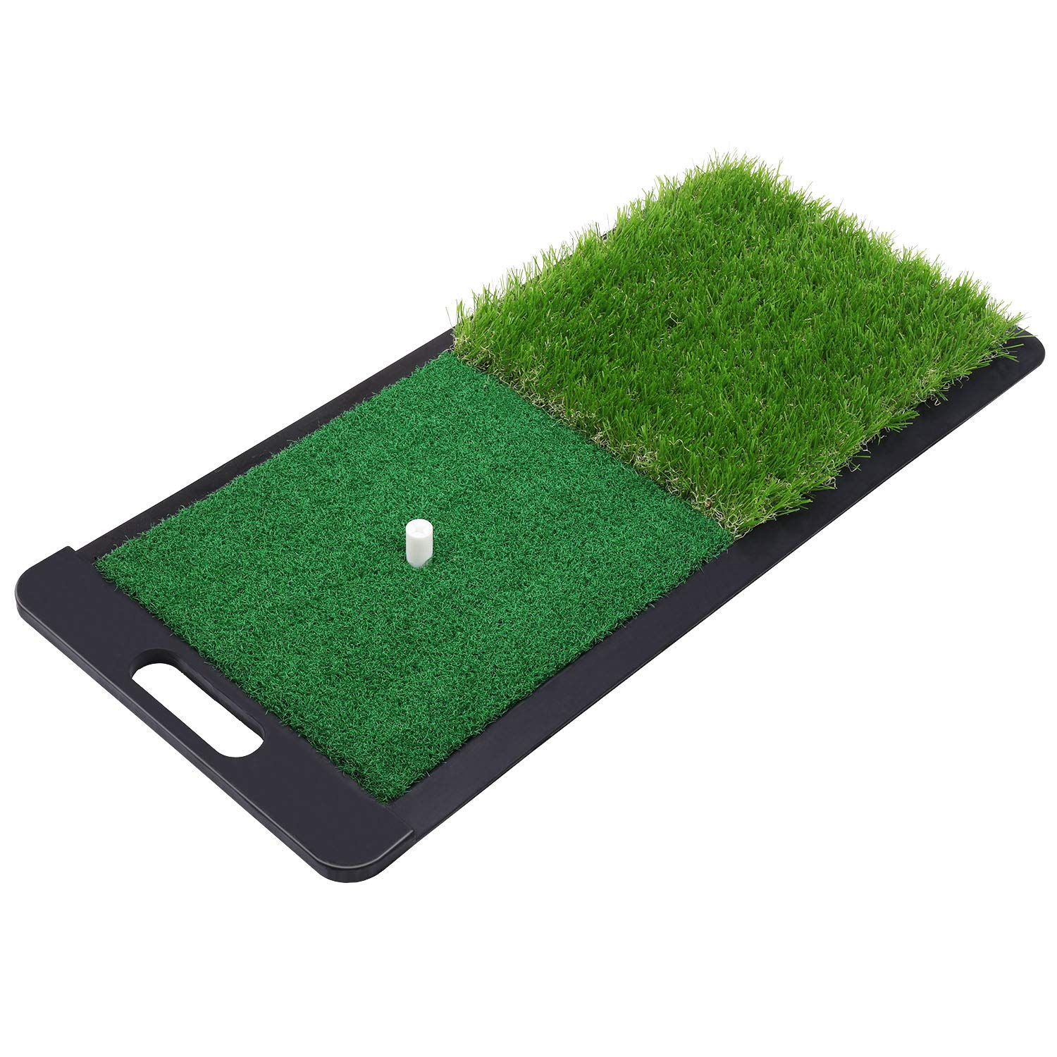 SkyLife Golf Practice Mat with Heavy Rubber Base for Driving Hitting Chipping Putting, Realistic Fairway Rough Turf, Rubber Tee Holder 2 3 4 Plastic Tees Included