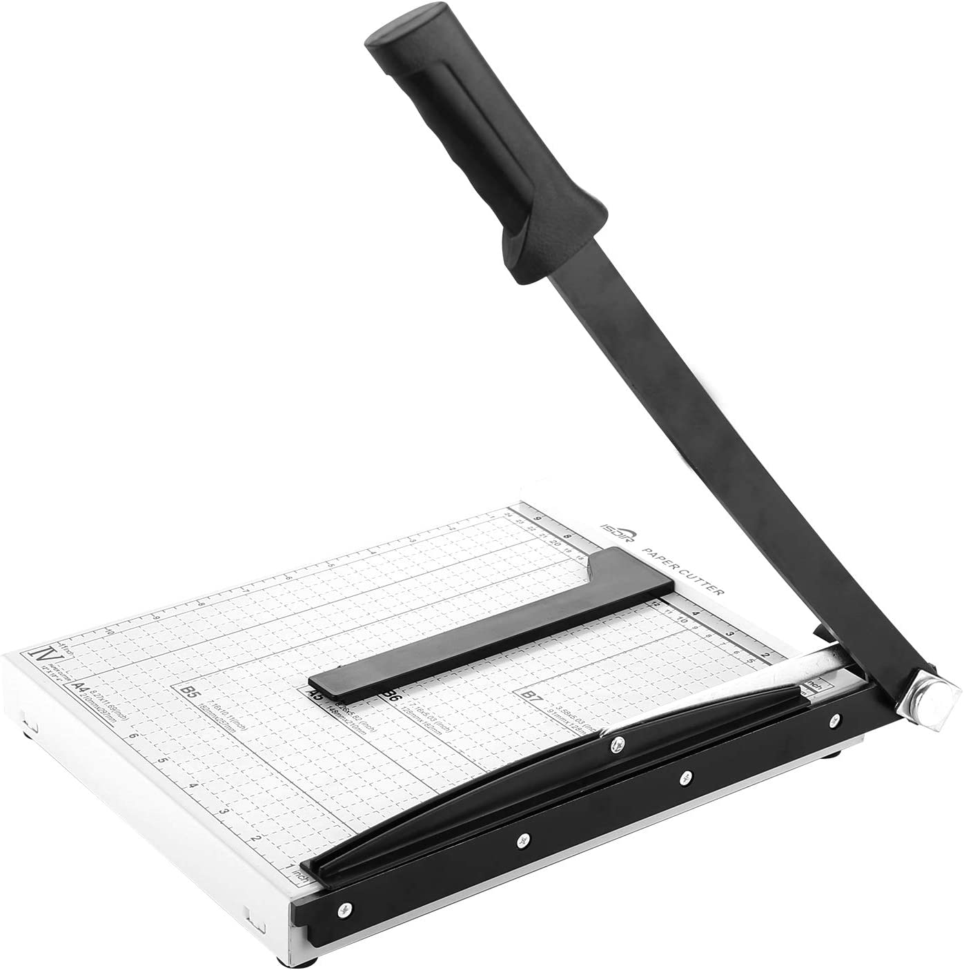 Paper Cutter Guillotine, Paper Cutter and Trimmer with Dual Paper Guide Bars, Heavy Duty Metal Base Trimmer for Home, Office, 12 Sheets Capacity, A4 Size, 12 Inch Cut Length (White)