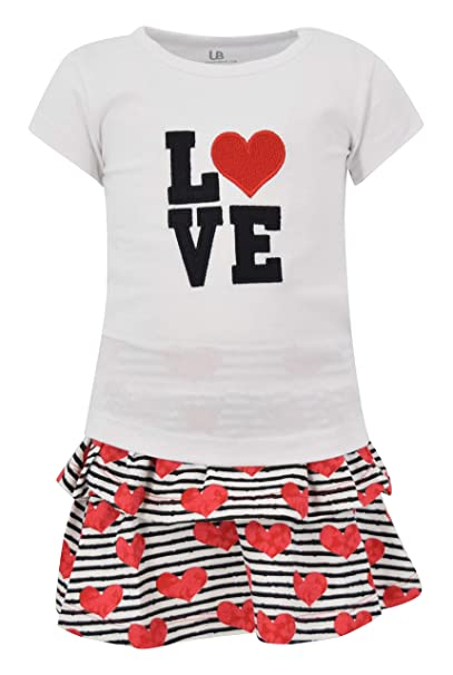 88899e74c05a Amazon.com: Unique Baby Girls Love Embroidery Valentine's Day Outfit ...