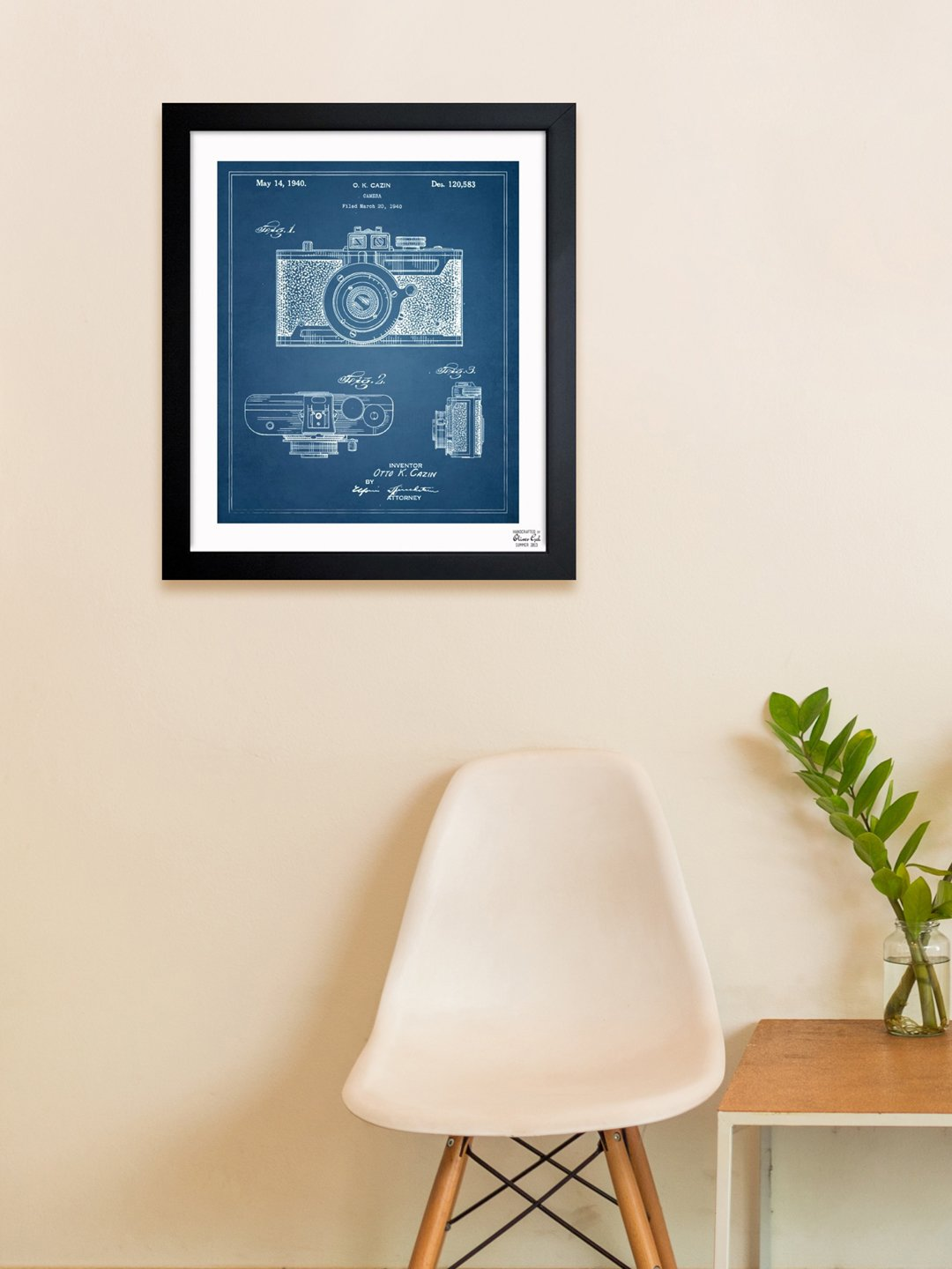 Amazon.com: Cazin Design for a Camera 1940 Vintage Framed Wall Art Print for Home decor & Office. The Photography Wall Decor Blueprint Collection by Oliver ...