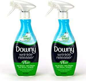 Downy Wrinkle Releaser Plus Static Remover (Crisp Linen) - 33.8 Fluid Ounce, Pack of 2