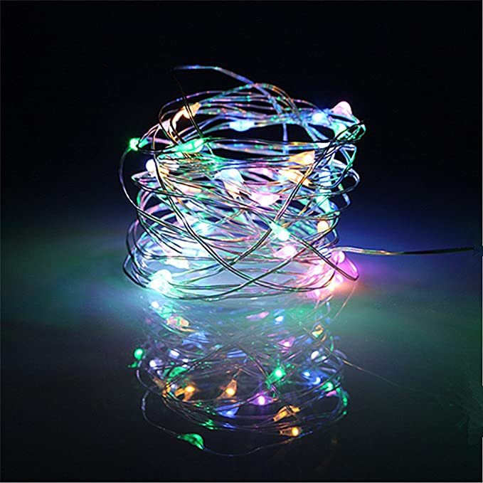 BUYERTIME 5M/16.4ft 50 LEDs String Lights Silver Wire Lights ...