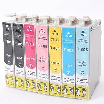 12 Patronen für Epson ersetzen T0801 T0802 T0803 T0804 =kein Original kein OEM