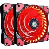 Ventola PC 120 mm,CONISY LED ad alta Airflow Ultra silenzioso per Computer Ventilatore del telaio - Rosso 2 Stueck