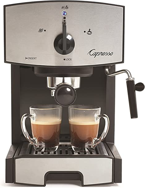 Capresso 117.05 Stainless Steel Pump Espresso and Cappuccino Machine EC50, Black/Stainless