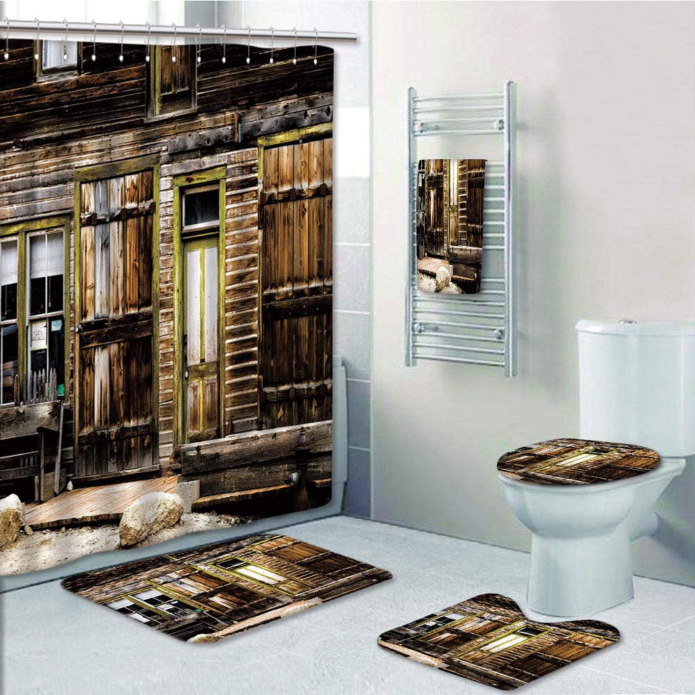 Bathroom 5 Piece Set shower curtain 3d print,Rustic Decor,Old Wooden Plank House with Antique Door and Windows with Stones on Rocky Street,Brown,Bath Mat,Bathroom Carpet Rug,Non-Slip,Bath Towls