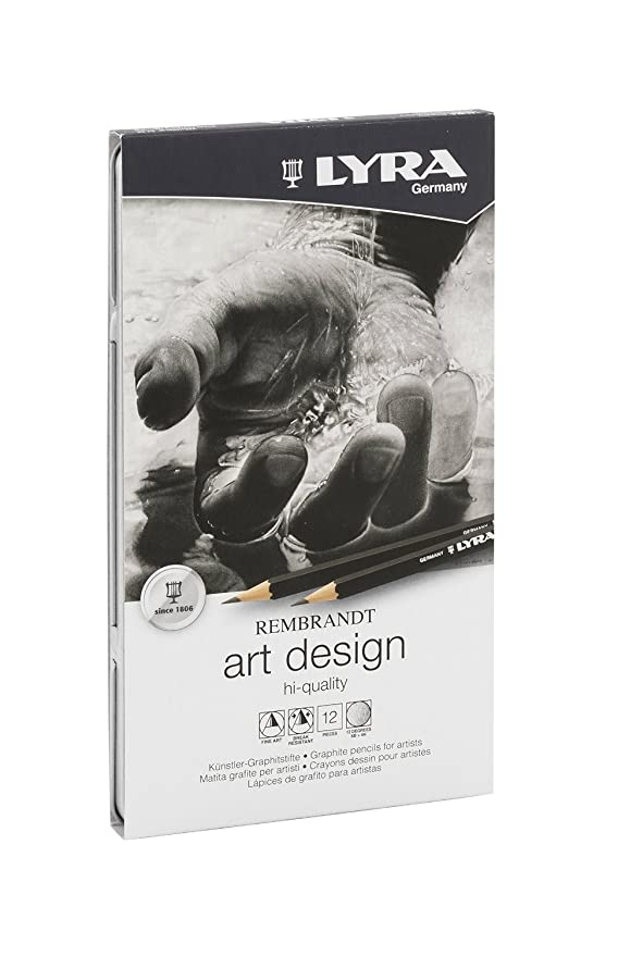 Lyra Rembrandt Art Design Artist Sketching Graphite Pencils 12Grades Metal Tin