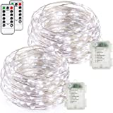 FYHD 2-Pack Battery Operated Waterproof Cool White Colored 50 LED Fairy String Lights, 16.4ft Copper Wire Light with Remote Control for Christmas Party Weeding Garden Home Decoration