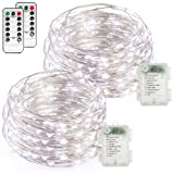 Amazon Price History for:FYHD 2-Pack Battery Operated Waterproof Cool White Colored 50 LED Fairy String Lights, 16.4ft Copper Wire Light with Remote Control for Christmas Party Weeding Garden Home Decoration