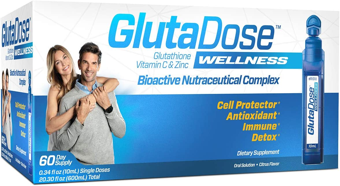 GlutaDose | Detox Every Day | Support Immune Function and Increase Energy | 400mg Glutathione+Vitamin C+Zinc | 30 or 60 Day Box | Liquid Vials | Made in USA (60 Doses)