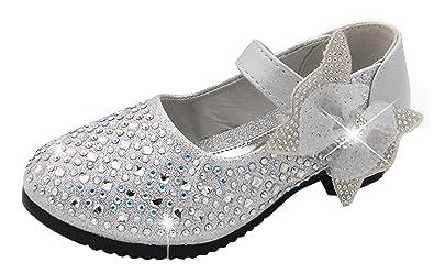 Agares Mädchen Glitzer Ballerinas Festliche Schuhe Kinderschuhe für Party  Hochzeit (30 Innerlänge 18cm, Silber 481404af7d