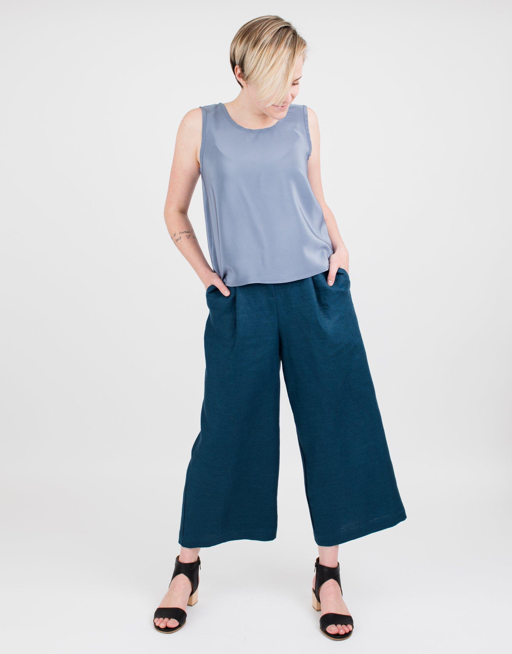Women's Blue Linen Culottes