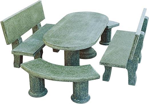 Mesa Comedor DE Jardin con 4 Bancos DE Piedra Artificial Color ...