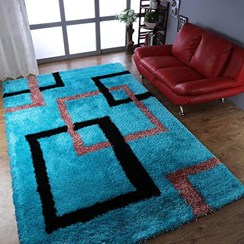 Rugsotic Carpets Hand Tufted Shag Polyester 9'x12' Area Rug Geometric Turquoise K00022