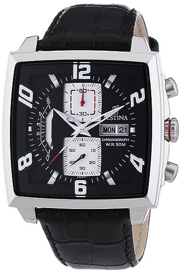 Festina F6826/1 - Reloj cronógrafo de cuarzo para hombre con correa de piel, color negro: Festina: Amazon.es: Relojes