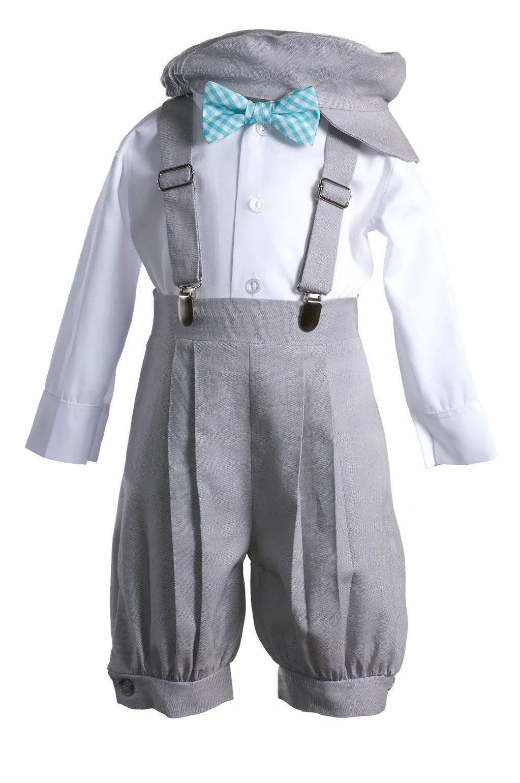 Boys Grey Linen Knicker Outfit Aqua Gingham Bow Tie Baby and Toddlers (18 to 24 Month) by Tuxgear