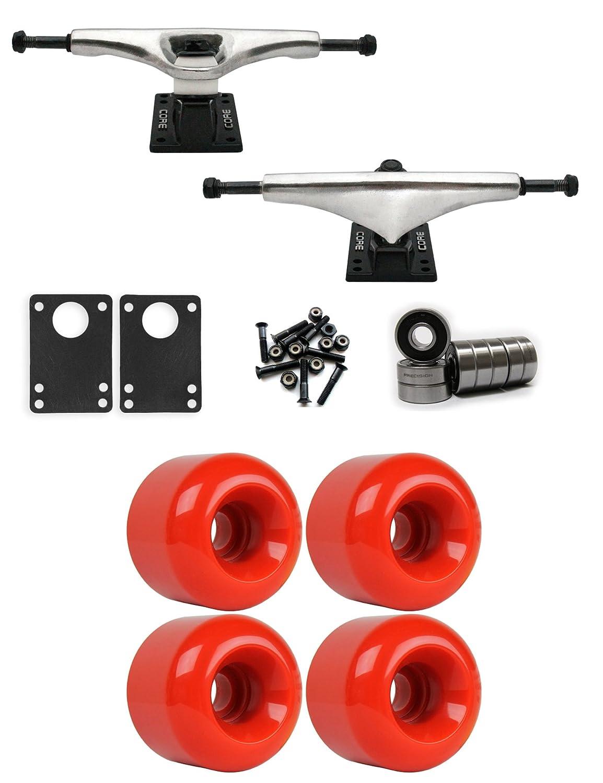 コア7.0 Longboardトラックホイールパッケージ62 mm x 52 mm 88 a 186 Cレッド   B01IJ58IP6