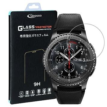 Qosea Samsung Gear S3 Classic/Samsung Gear S3 Frontier Protector de Pantalla(2 Pack), 2.5D Edge 9H Vidrio Templado Protector de Pantalla de Cristal ...