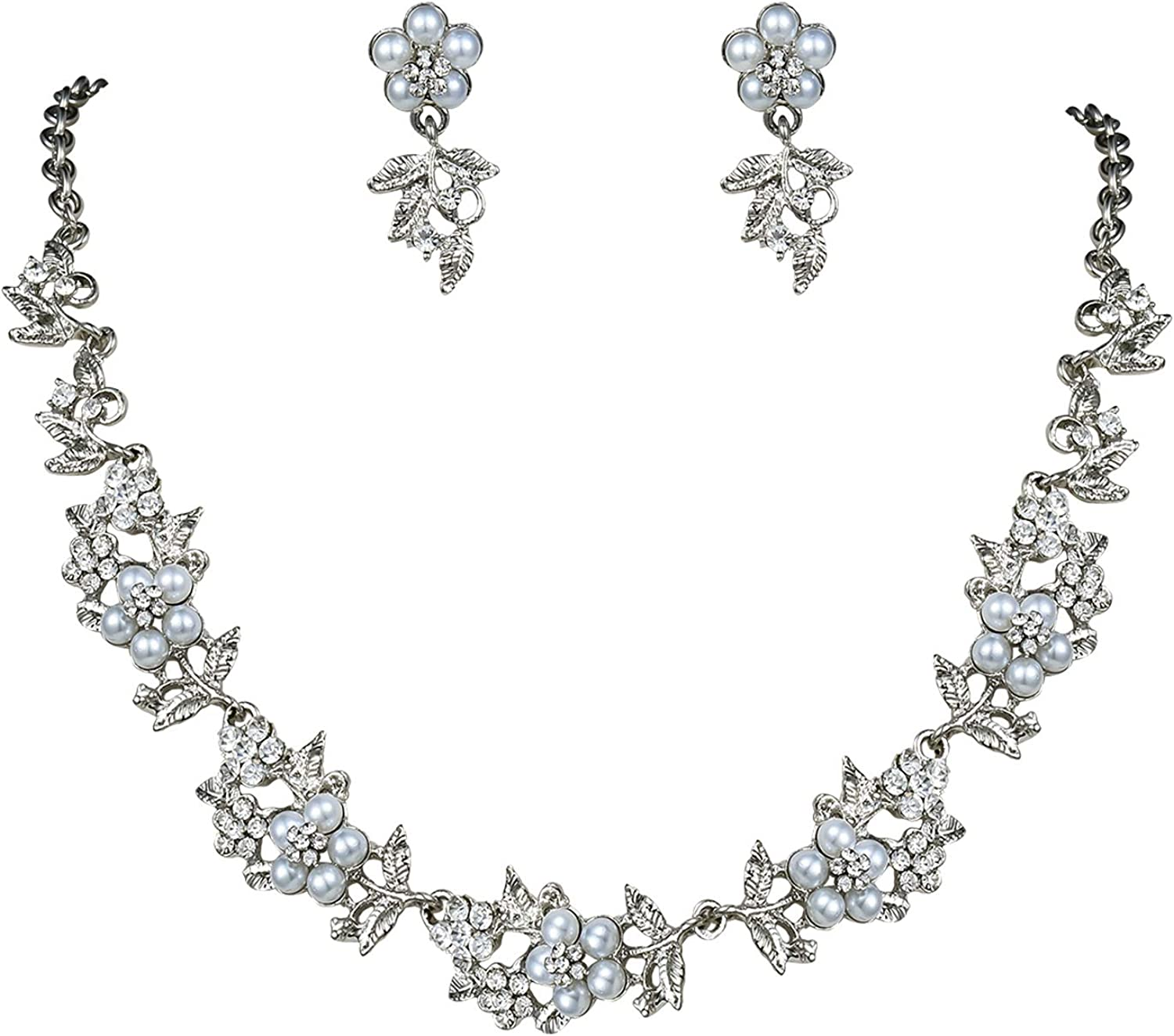 White Pearl /& Rhinestone Formal Rhinestone Crystal Necklace Set Wedding Bridal