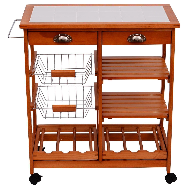 Küchenwagen  Holz Küchenwagen Küchentrolley Servierwagen Beistellwagen ...