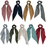GETACOTA 9 Pieces Hair Scrunchies Bowknot Satin Chiffon Long Tail Elastics Ribbon Ear Bow Pattern Colors Scrunchy Scarf Scrun