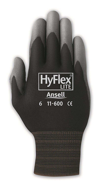 Ansell HyFlex 11-600 Nylon Polyurethane Glove, Gray Polyurethane Coating, Knit Wrist Cuff, Large, Size 8 (12 Bags of 12 Pairs)